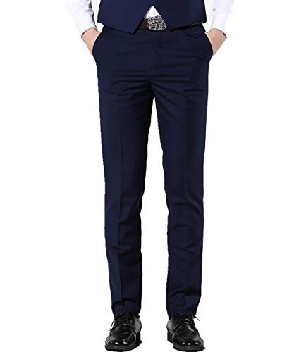 MOGU Mens Slim Fit Flat Front Pant US Size 28(Tag Asian Size S) Navy Blue