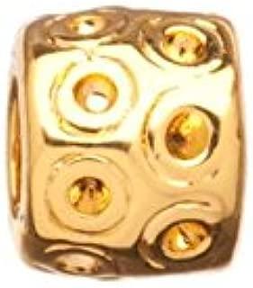 Zik-zak rondelle gold-finished large hole charm fits 16pcs ss4.5/pp10 Rhinestones 9x7.6mm
