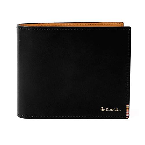 [名入れ可] ポールスミス Paul Smith 正規品 本革 二つ折り 財布 マルチストライプタブ レザー 牛革 ショップバック付き 873583 P094 (名入れなし, ブラック)