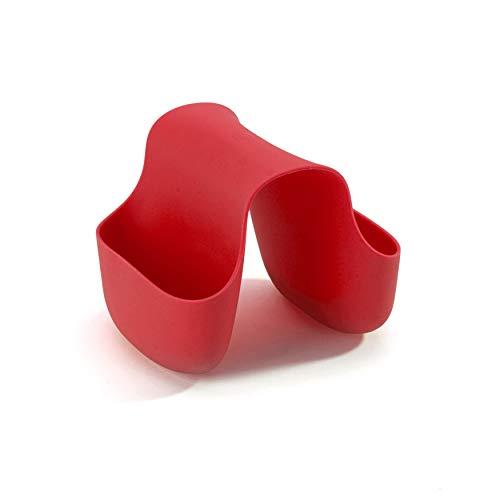 UMBRA Saddle. Porte-éponge double Saddle, en caoutchouc pour double évier de cuisine, rangement pour éponge à vaisselle, coloris rouge.