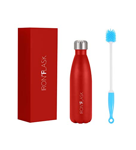 IRON °FLASK Botella de Agua Deportiva Retro - 17 oz, Acero Inoxidable Aislado al vacío, frío Caliente, Moderno de Doble Pared (Rojo Fuego)