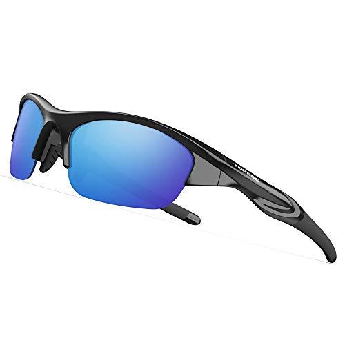 TOREGE Tr90 Flexible Kids Sports Sunglasses Polarized Glasses for Junior Boys Girls Age 3-6 TR041 (Black&Blue Lens)