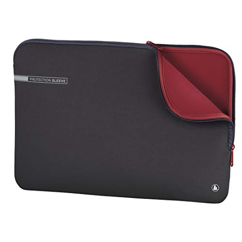 """Hama Laptoptasche \""""Neoprene\"""" mit Kratzschutz (Notebook Tasche für Damen und Herren, widerstandsfähige Laptophülle mit weichem Innenfutter, 40 cm, 15,6 Zoll) grau, rot"""