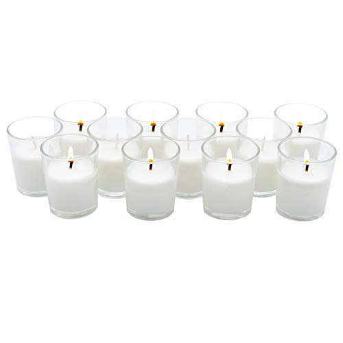 Royal Imports Unscented Clear Glass Votive Candles, Long 15 Hour Burn Time, for Home, Spa, Wedding, Birthday, Holiday, Restaurant, Party, Birthday, 12 Pack