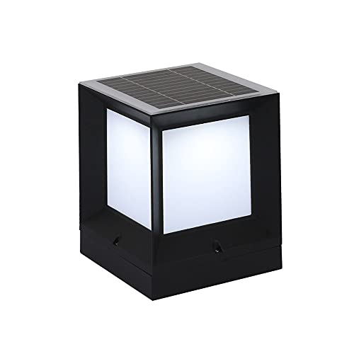 ZZYJYALG Solar Stigma LED Lamp, Aluminum Alloy+acrylic Rain-proof and Lightning-proof Large-capacity Battery, Suitable for Square, Courtyard and Outdoor Fence Lamp Black (Size : Large)