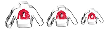 Christmas Ugly Winter Sweater Cookie Cutter Set - 3 Pieces In Graduated Size - Stainless Steel