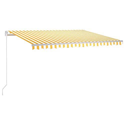 Festnight Gelenkarmmarkise Sonnenmarkise Einziehbare Markise Terrassenmarkise Balkonmarkise mit Handkurbel Sonnenschutz Terrasse Balkon mit Beleuchtung 400x300 cm Gelb & Weiß