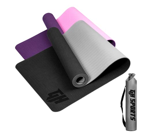GH Sports Yoga Mat for Men and Women with Carry Bag | TPE Fitness mat, Exercise mat, Non...