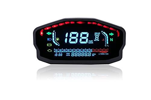 VSKTE Universal Motorcycle LIGHT LCD Velocímetro Digital Retroiluminación Digómetro Tacómetro Calibrador de aceite Ajuste para 1,2,4 Cilindros Motocicletas Medidor