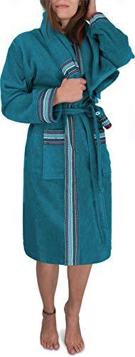 normani Damen Frotte Bademantel aus 100% Bio Baumwolle im Set mit Handtuch und Waschlappen Farbe Petrol Größe 3XL