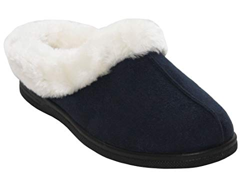 Cushion Walk Womens Ladies Slip On Fur Lined Winter Warm Hardsole Mules Slippers Sizes UK 3-8 (UK 7, Navy)