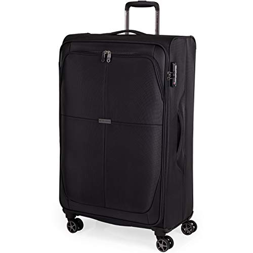 Soft Shell 31 Inch Suitcase with x4 Spinner Wheels - Cion Soft Case by Gino Ferrari | Quality Tested Soft Sided Luggage | Weighing 2.9 Kg 79cm Large 81 litres Cap CL610 (Black, Large)