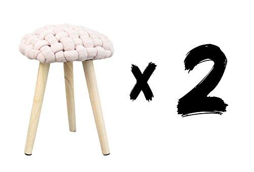Voor Diseño s.l. Crochet F01 Set van 2 krukken, 36 x 36 x 46 cm, roze, Rovere, polyester, massief hout