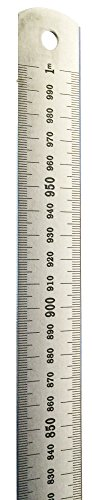 1 Meter Stainless Steel Ruler with Stamped Centimeter and Millimeter Graduations - Eisco Labs
