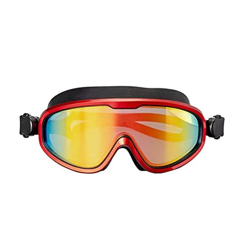 Petrichori Gafas de natación de Silicona Antivaho Luz polarizada Chapado en miopía Visión más Clara y Gafas de protección UV - Rojo