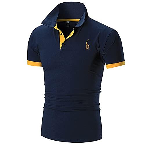 Deportiva Camisa Hombre Moderna Básica Ajustado Elásticos Botón Placket Hombre Shirt Verano Moda Empalme Bordado Hombre Manga Corta Casual Sport All-Match Hombre Tops
