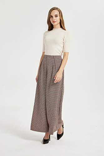 Tronjori Women High Waist Casual Wide Leg Long Palazzo Pants Trousers(M, Multi Check)