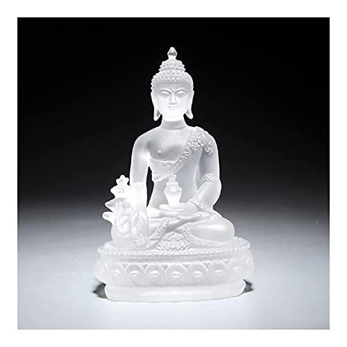 HBR Estatua de Shakyamuni de 4.7 pulgadas de la medicina Maestro de Buda Acristalados coleccionables y figuras, decoración de meditación, decoración espiritual de sala de estar (color azul)