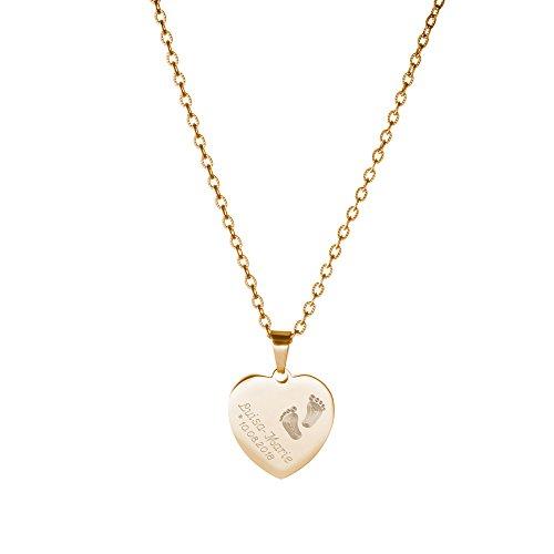 Gravado Halskette aus Gold-Edelstahl mit Herz Anhänger und Gravur mit Kinder Füßchen, Personalisiert mit Namen und Datum, Mädchen Schmuck