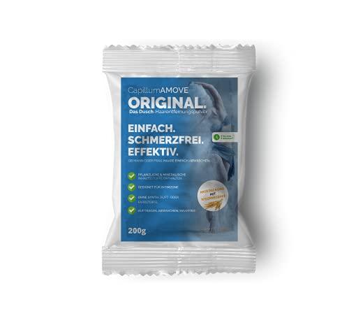 Capillum AMOVE Orginal 200g Sparpackung - Schmerzfreies Dusch Haarentfernungscreme Pulver für Mann & Frau ohne Zusätze