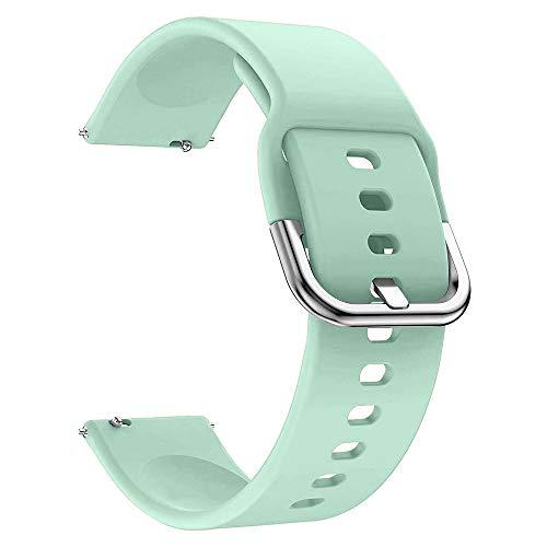 EWENYS Correa de repuesto para deportiva silicona suave de smartwatch, Compatibile con Samsung Galaxy Watch Gear S3 Classic / Huawei Watch GT 2 / Fossil Gen 5 / Amazfit GTR 2 (20mm, Menta verde)