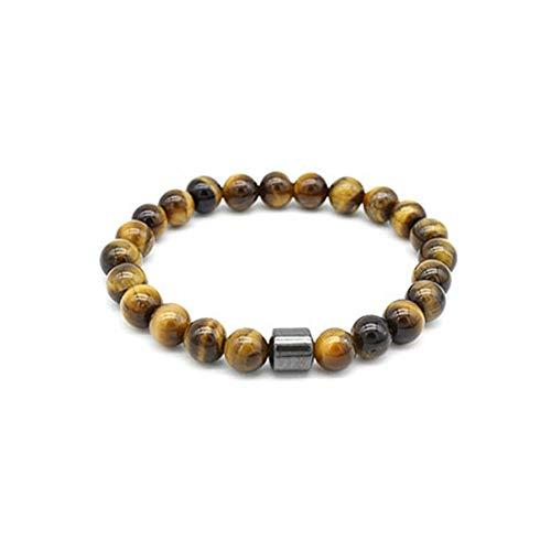 Pulsera de piedra natural de hematita y ojo de tigre, pulsera magnética para hombre y mujer con elástico extensible.