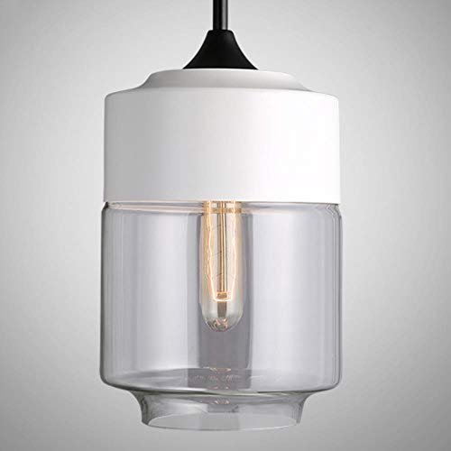 5151BuyWorld Lamp Américain Industrial Loft Vintage Pendentif Lumières Noir Blanc Fer E27 Verre Retro Loft Lampe Vintage Lampe Suspendue Qualité Supérieure {Blanc C & Ambre Partie Inférieure}