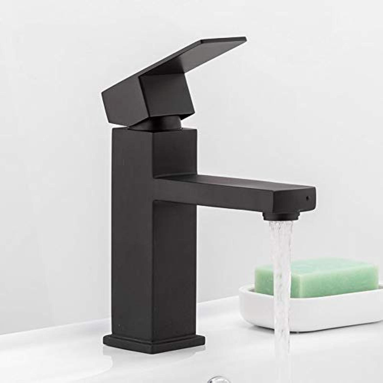 ZHFJGKR&ZL Spültischarmatur Quadratisch Schwarz Bad Wasserhahn Edelstahl Waschtischarmatur Badzubehr Wasserhahn Waschbecken Mischbatterie