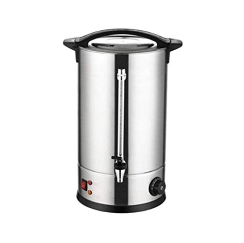 HFWJHH Cubo de Agua hirviendo electrico Calentador de Agua electrico de Acero Inoxidable 304, Cubo de Agua de calefaccion electrica Comercial de Doble Capa (Color : Silver, Size : 35L)