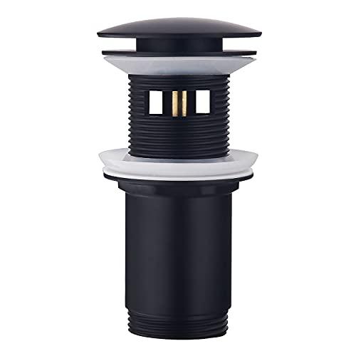 Keymark Universal Pop Up - Piletta di scarico con troppopieno nero opaco, per lavabo e lavabo