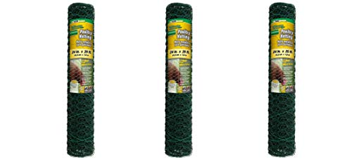 YARDGARD 308452B 2 Foot X 25 Foot 1 Inch Mesh PVC Coated Poultry Netting (Pack of 3)