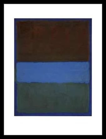Germanposters Mark Rothko No. 61 (Brown Blue Brown on Blue) 1953 Poster Kunstdruck Bild mit Alu Rahmen in schwarz 86x66cm