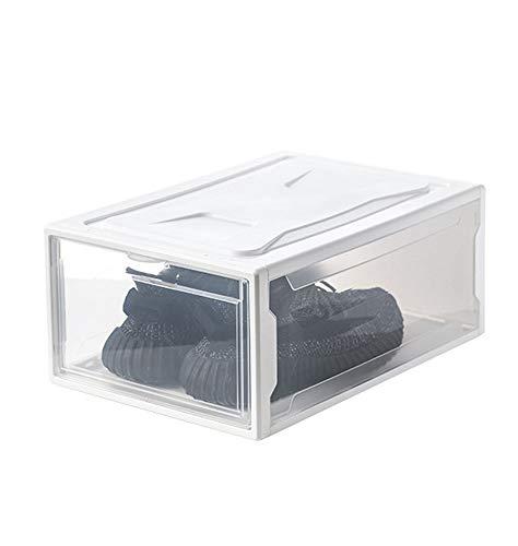 NACEO Schoenendoos Duidelijke Plastic Opbergdoos Open Voorkant, Opvouwbare En Stapelbare Heren Sneakers Organizer Box (Zwart/Wit), whitetrumpet