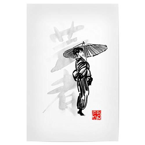 artboxONE Poster 30x20 cm Menschen Geisha Umbrella - Bild Geisha Umbrella blackandwhite Geisha