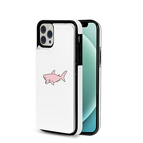 Funda protectora para iPhone 12 con diseño de tiburón rosa y diseño torras funda protectora divertida para iPhone 12 funda de cuero para mujeres hombres novio regalo P.X.M.E