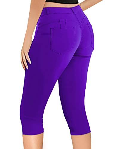 Super Comfy Stretch Bermuda Shorts Q43308 Purple 15