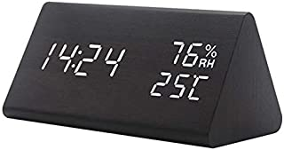 AMERTEER Digital Alarm Clock, with Wooden Electronic LED Time Display, 3 Alarm Settings, Humidity & Temperature Detect, Wo...