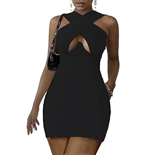 PANGF Vestido de mujer sin mangas, sexy, vestido de baile, de un solo color, moderno, túnica, vestido de noche, de fiesta, de verano, regalo de mujer. Negro M