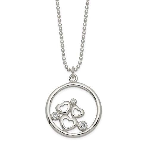 Anillo de plata de ley 925 con circonita cúbica pulida y circonita cúbica de imitación, collar de corazón y regalo para mujeres – 46 centímetros