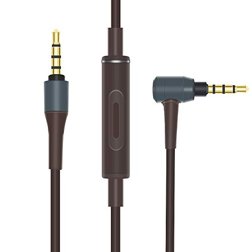 MUC-S12SM1 Replacement Audio Cable Inline Microphone Remote Volume Extension Cord Lead Compatible Audio Technica ATH-MSR7 ATH-MSR7NC ATH-MSR7GM ATH-SR5NBW ATH-SR5BT Sony MDR-1A Headphones (Brown)