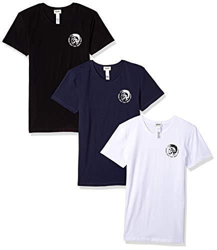 Diesel UMTEE-RANDALTHREEPACK Maglietta Camiseta, Multicolor (Azul/Negro 02), M (Pack de 3) para Hombre