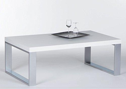 lifestyle4living Couchtisch in Hochglanz Weiß mit Alu Metallgestell | Schöner Wohnzimmertisch für gemütliche Wohnzimmer