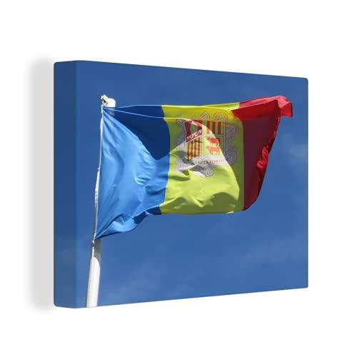 Leinwandbild - Die Flagge von Andorra weht am blauen Himmel - 80x60 cm