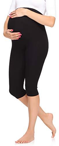Merry Style Legging 3/4 Grossesse Maternité Tenue Sport Femme MS10-298 (Noir, M)