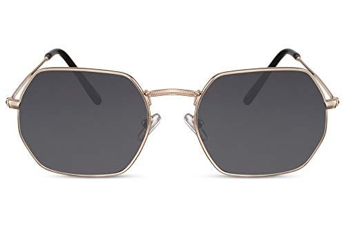 Cheapass Sonnenbrille Oktogonal Gold-en Grau Getönt UV-400 Rund Acht-Eckig Brille Metall Herren Damen