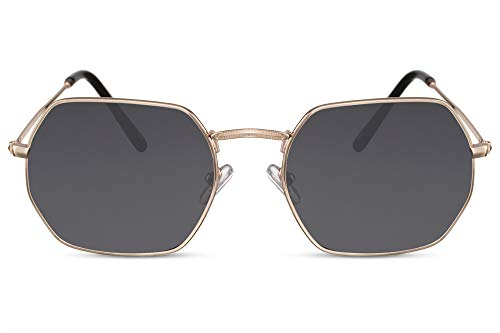Cheapass Gafas de Sol Montura Octogonal Dorada Lentes Oscuras Metal UV400 Hombres Mujer