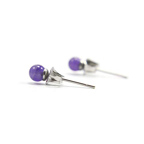 4mm Amethyst Ball Studs, Tiny Stud Earrings For Women, Hypoallergenic Surgical Steel