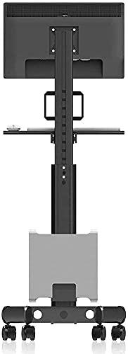 Soporte de piso estrecho de acero inoxidable para TV para televisores de 60 & mdash; 80 pulgadas, unidad de soporte para televisor negro con ruedas, hasta 175 kg, altura de inclinación ajustable, VESA
