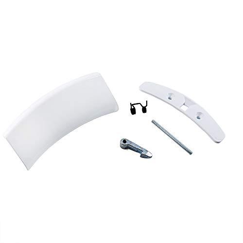 Marel Shop® - Maniglia oblò kit completo molla gancio spinotto e mostrina per lavatrice compatibile con Electrolux Zanussi Rex per modelli: RWW168443W - RWS6010W - ZWC85010W