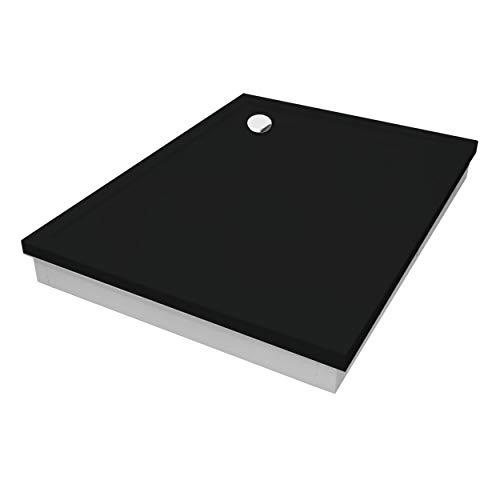 Plato de ducha negro efecto piedra soporte de poliestireno, plato de ducha Black Stone DIN 51097A (90 x 100 x 4,5/17)